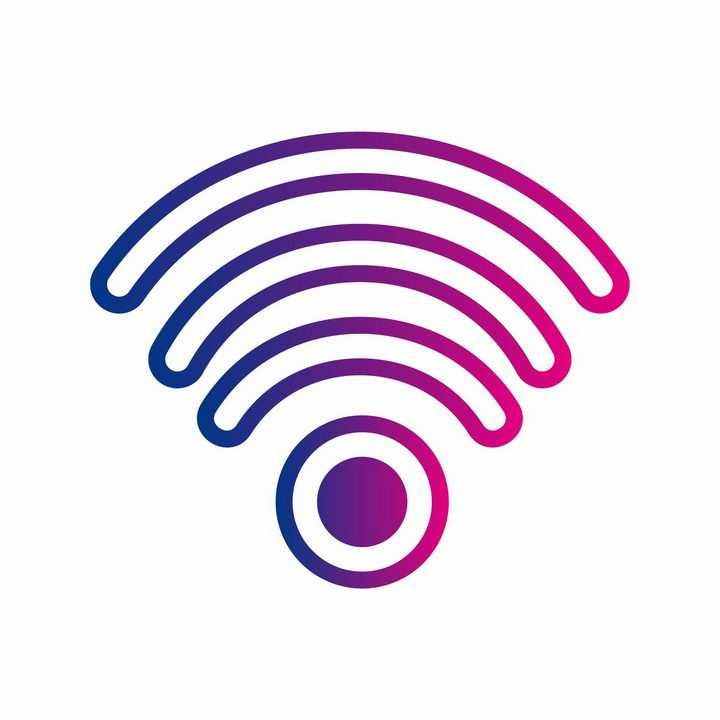 渐变色空心wifi信号图标图案png图片免抠ai矢量素材