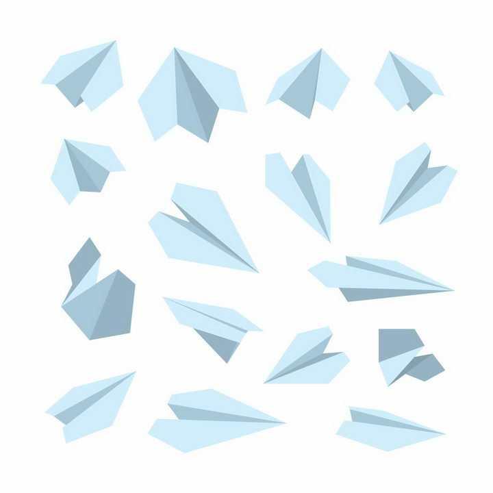 各种淡蓝色的折叠折纸纸飞机png图片免抠矢量素材