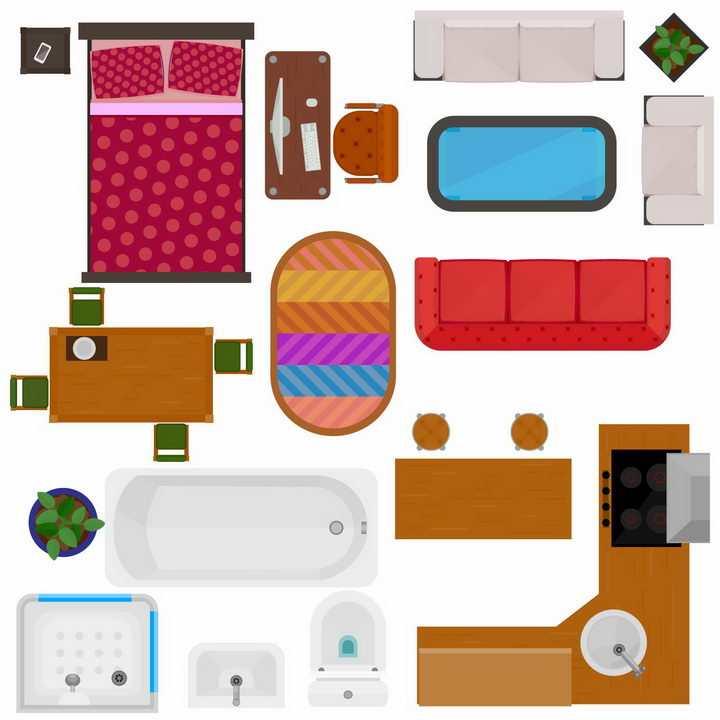 俯视视角床电脑桌沙发电视柜餐桌浴缸洗手池电脑桌等家具平面图png图片免抠矢量素材
