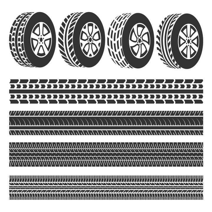 黑白色汽车轮胎和笔直的轮胎印车轮印png图片免抠矢量素材