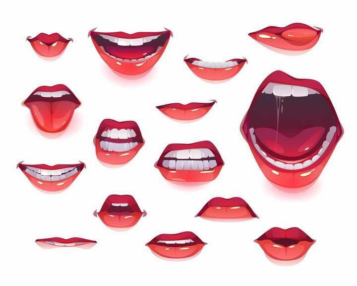 各种各样的嘴唇嘴巴效果图png图片免抠矢量素材