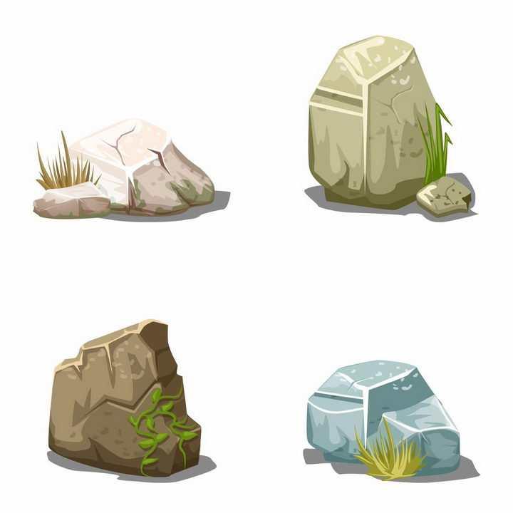 4种颜色的石块石头小草边上的岩石png图片免抠矢量素材