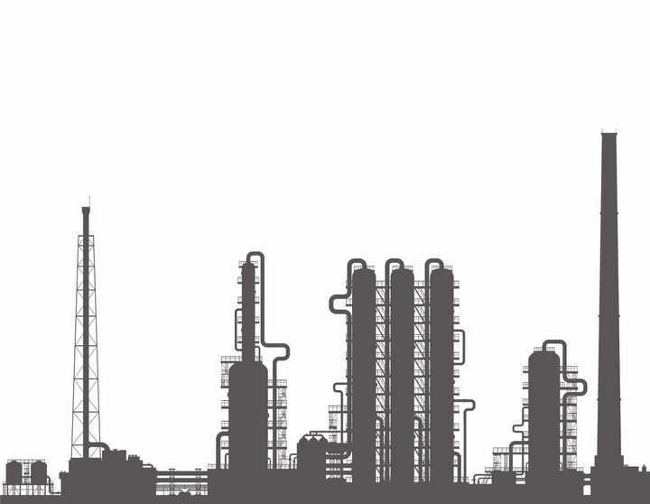 深灰色的化工厂剪影png图片免抠矢量素材