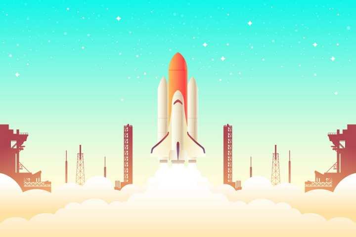 正在航天发射中心起飞的航天飞机png图片免抠eps矢量素材