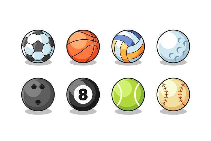 卡通足球篮球排球保龄球台球网球高尔夫球体育运动球类png图片免抠矢量素材