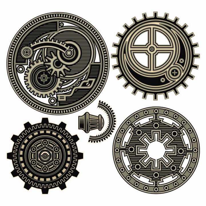 4款蒸汽朋克风格的齿轮机械装置png图片免抠矢量素材