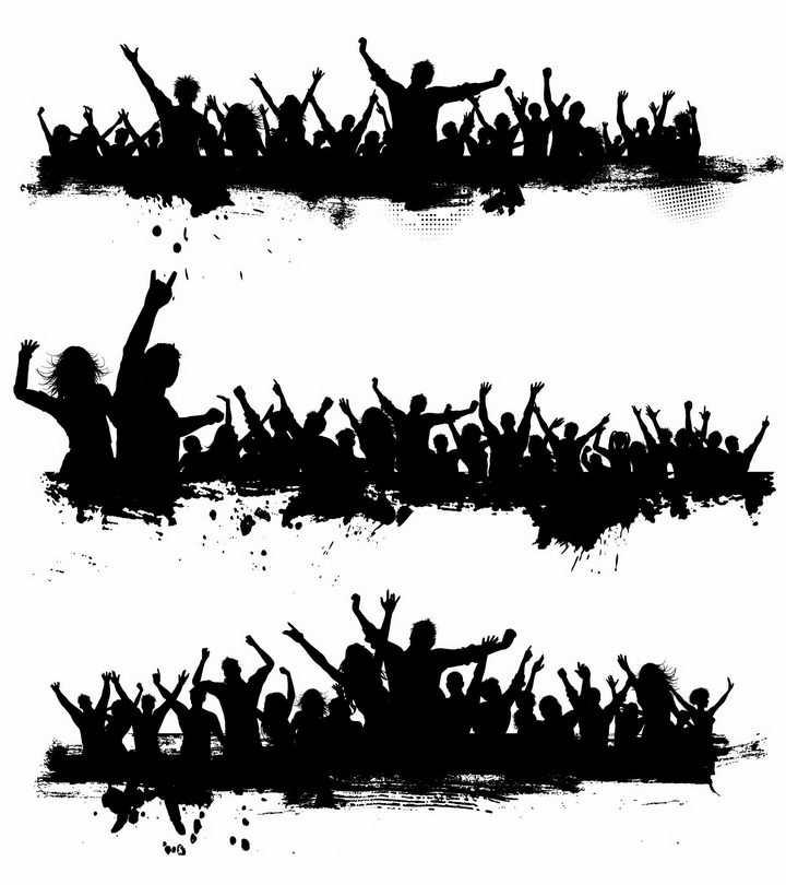 3款聚会音乐节演唱会上欢呼雀跃挥舞手臂的年轻人人群剪影png图片免抠矢量素材