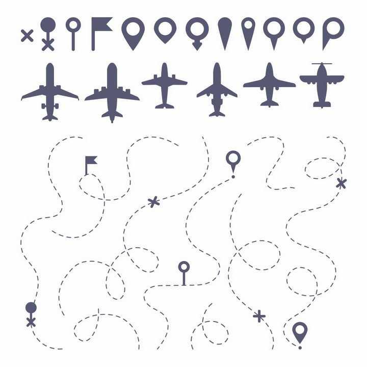 扁平化风格客机飞机定位图标和虚线飞行线路旅游png图片免抠矢量素材