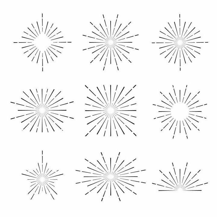9款断点线条风格放射线烟花线条图案png图片免抠矢量素材