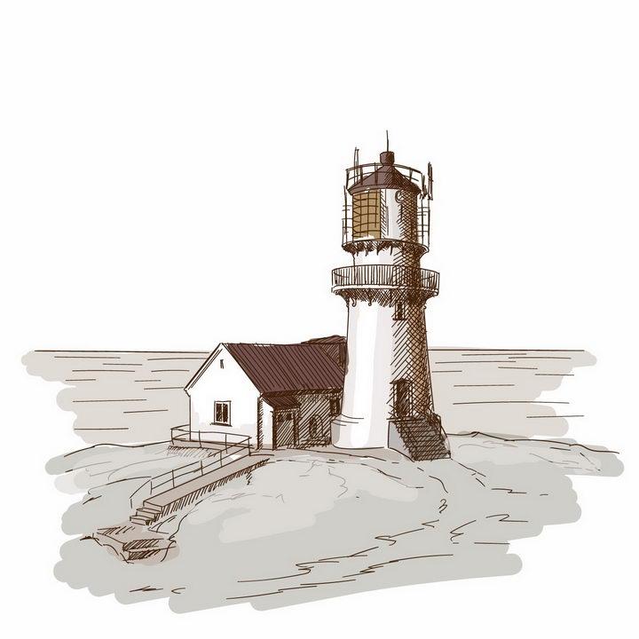 彩绘素描风格海边的灯塔风景图png图片免抠矢量素材 插画-第1张