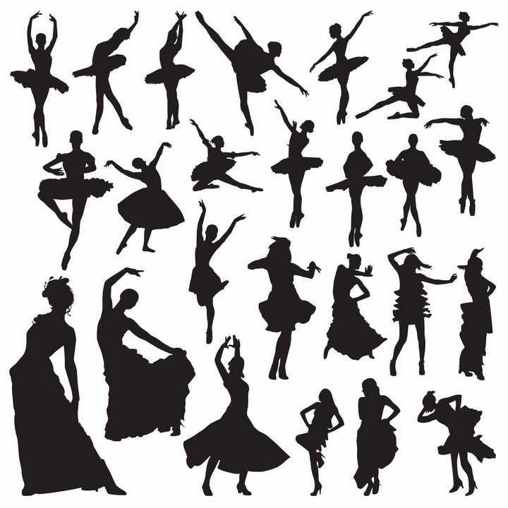 各种跳舞跳芭蕾舞的舞者剪影png图片免抠矢量素材