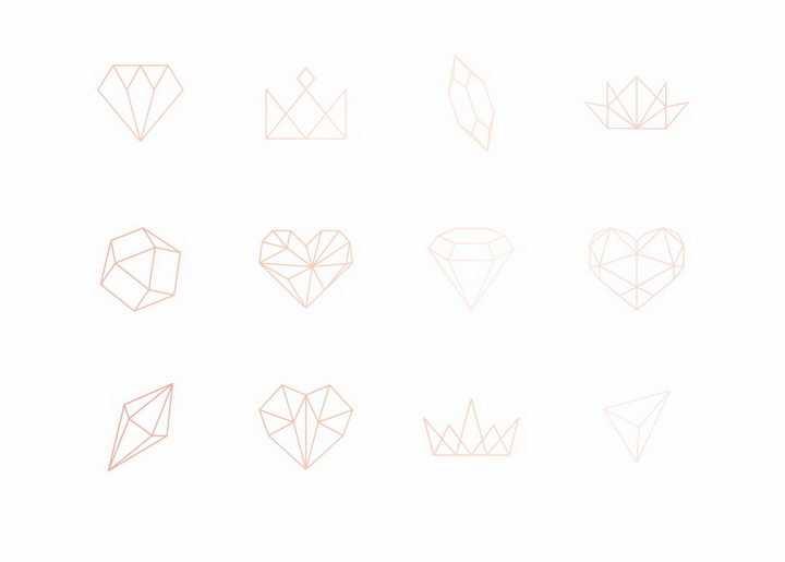 12款粉色线条风格钻石心形符号图案png图片免抠eps矢量素材