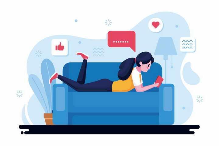 绿色扁平插画风格趴在沙发上看手机的女孩png图片免抠矢量素材