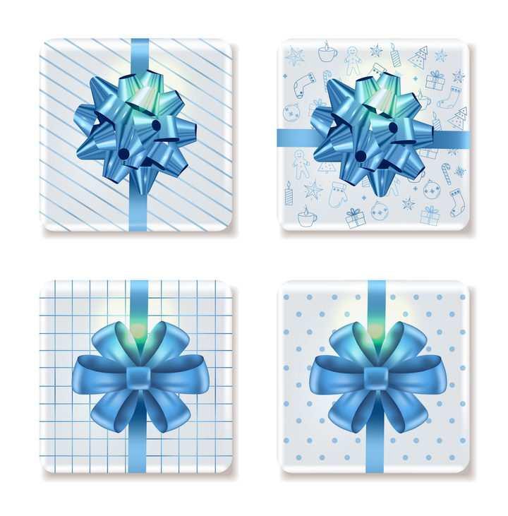 4种蓝色蝴蝶结风格白色礼品盒礼物盒包装图片免抠矢量素材