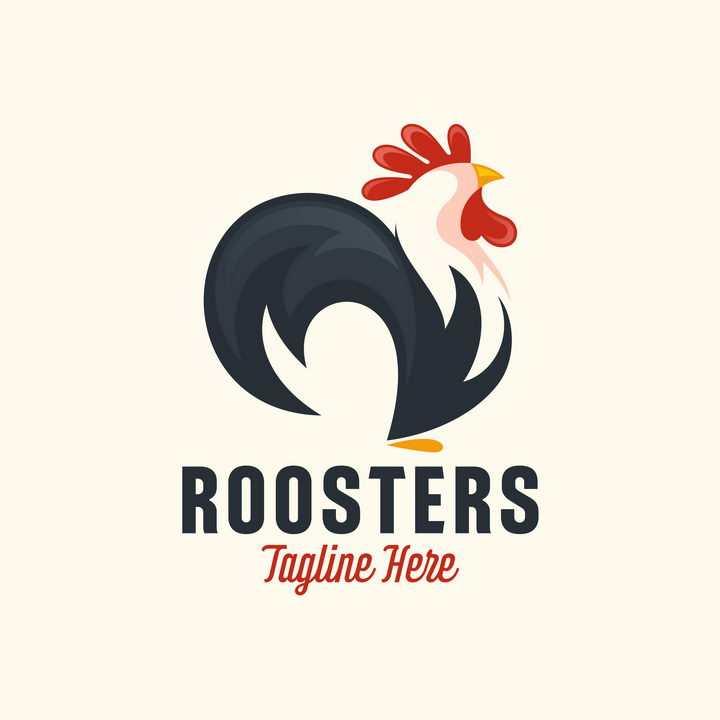 卡通公鸡logo设计方案图片免抠矢量素材