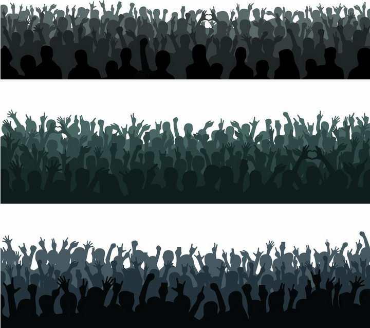 3款聚会音乐节演唱会上欢呼雀跃的人群人影人物剪影png图片免抠矢量素材