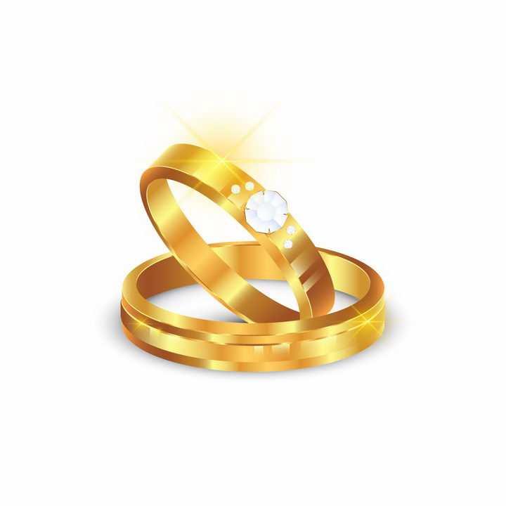 镶钻的黄金求婚戒指结婚戒指订婚戒指png图片免抠矢量素材