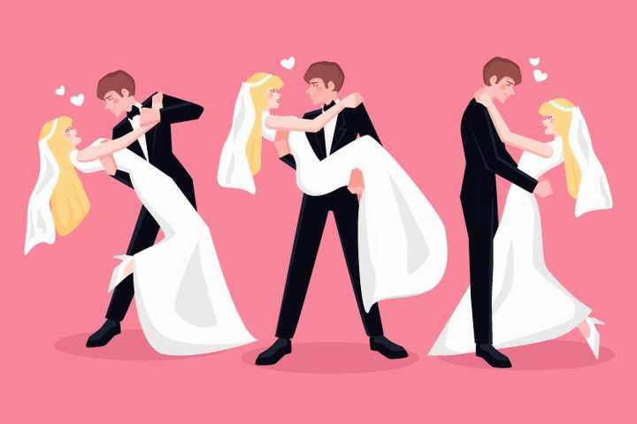 身穿婚纱一起跳舞的结婚新娘和新郎png图片免抠矢量素材