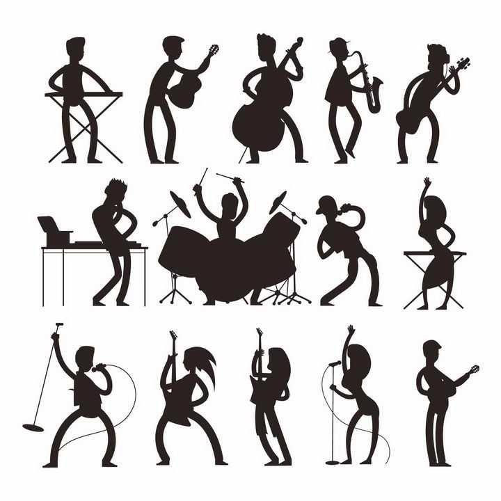 各种弹吉他大提琴架子鼓等演奏音乐的卡通人物剪影png图片免抠矢量素材