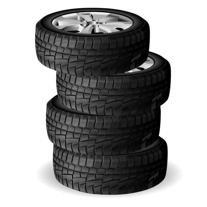叠加堆放在一起的四个汽车轮胎png图片免抠矢量素材