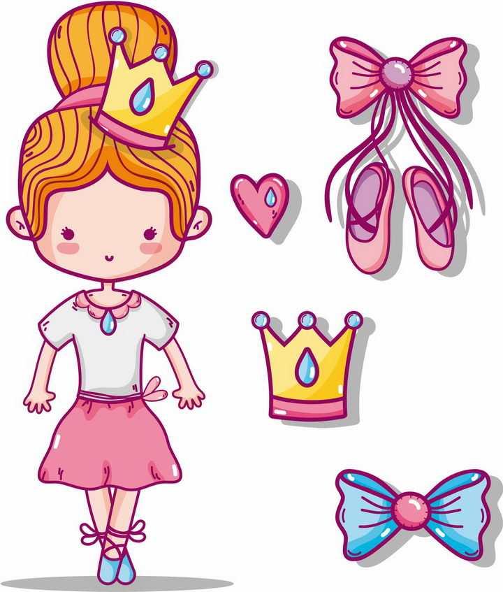 可爱卡通芭蕾舞女孩和她的芭蕾舞鞋等跳舞装备png图片免抠矢量素材