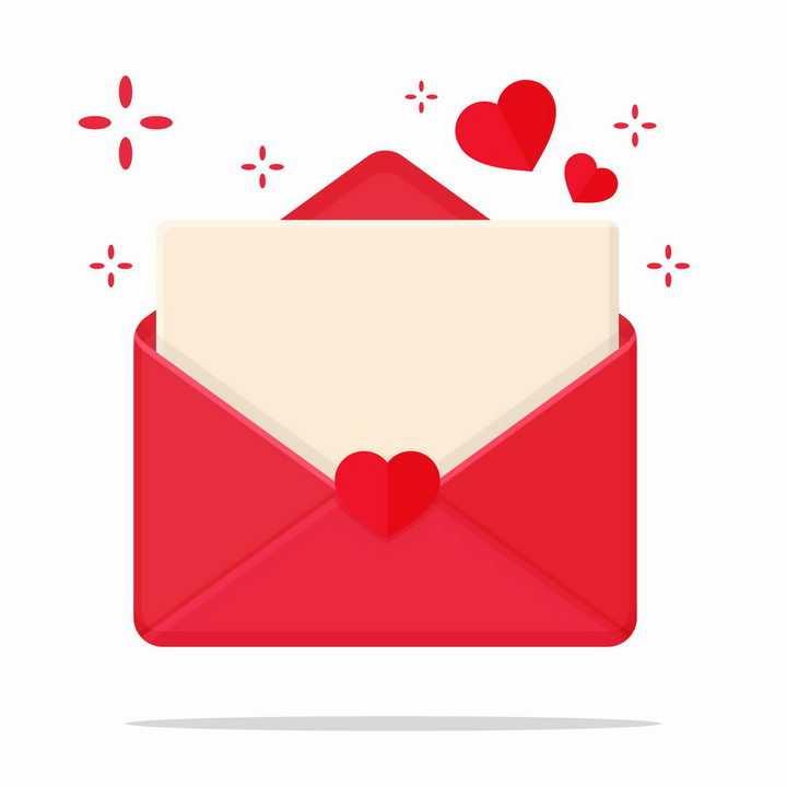 红色心形信封爱情png图片免抠矢量素材
