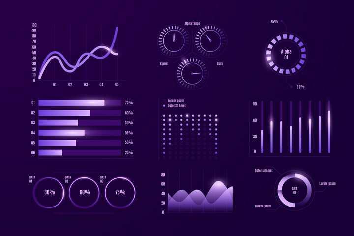 深色背景紫色渐变色风格的曲线图指针图柱形图等信息图表图片免抠矢量素材