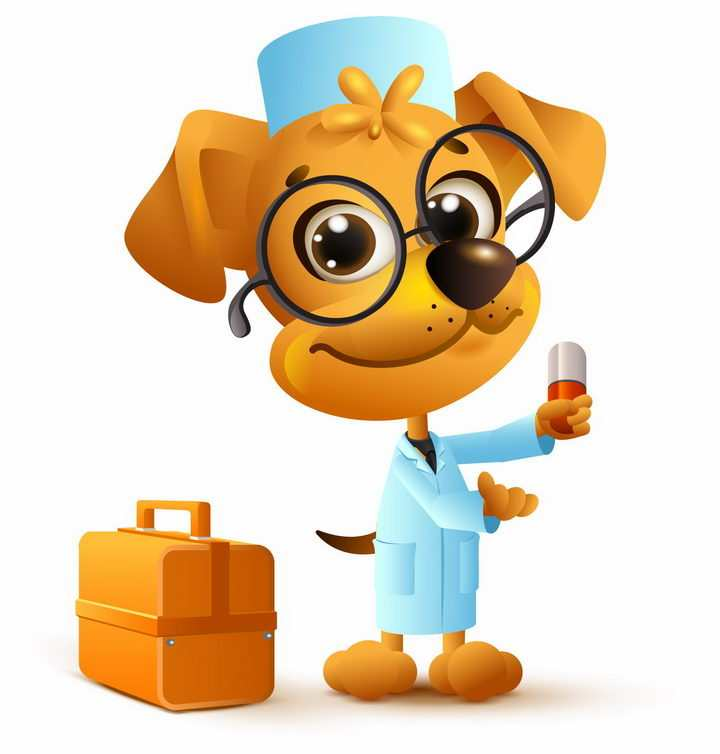 戴眼镜的卡通小狗医生拿着药丸png图片免抠矢量素材