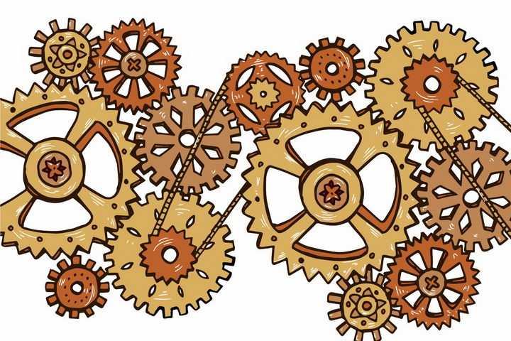 手绘风格蒸汽朋克风格齿轮和链条组成的联动装置png图片免抠矢量素材