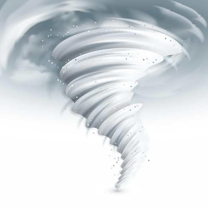 漫画风格乳白色的龙卷风自然奇观png图片免抠矢量素材