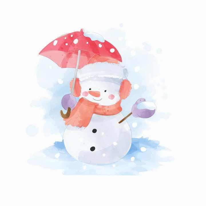 彩绘风格打着雨伞的卡通雪人png图片免抠矢量素材