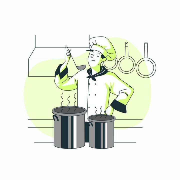 绿色扁平插画风格厨师正在试吃自己烹饪的美食png图片免抠矢量素材