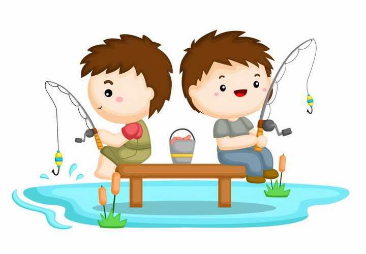 两个正在钓鱼的卡通小男孩png图片免抠矢量素材