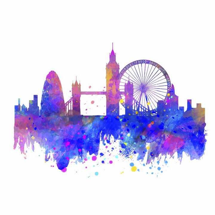 彩色泼墨风格的英国伦敦城市建筑天际线剪影png图片免抠矢量素材