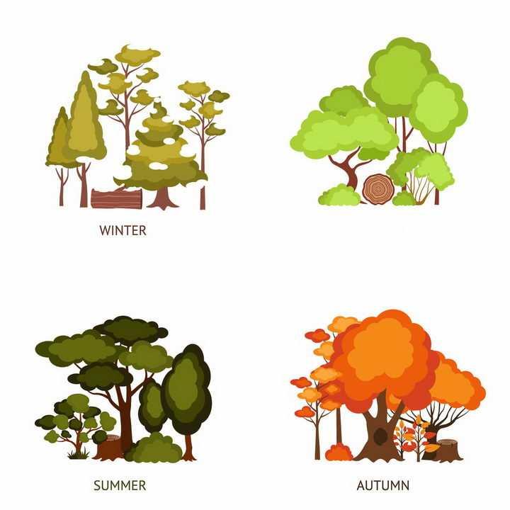 春夏秋冬四季不同树木的颜色也不一样png图片免抠矢量素材
