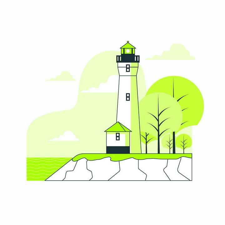 扁平插画风格绿色的大树和海边的灯塔png图片免抠矢量素材