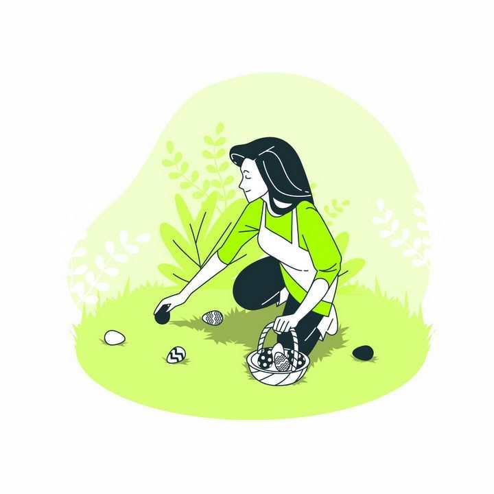 绿色扁平插画风格蹲地上采摘食物的女人png图片免抠矢量素材