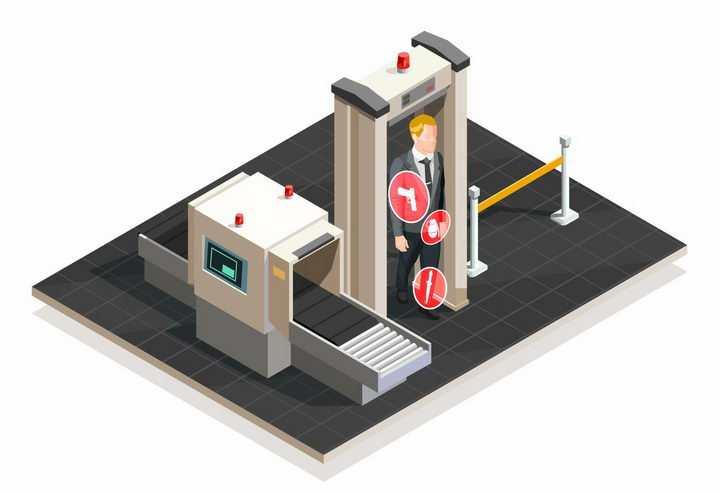 2.5D风格通过机场安检门png图片免抠矢量素材