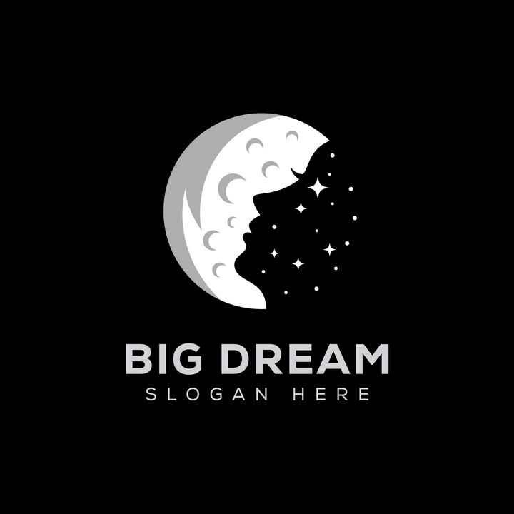 月亮女神灰白色月球背景美女侧影剪影logo设计方案png图片免抠矢量素材