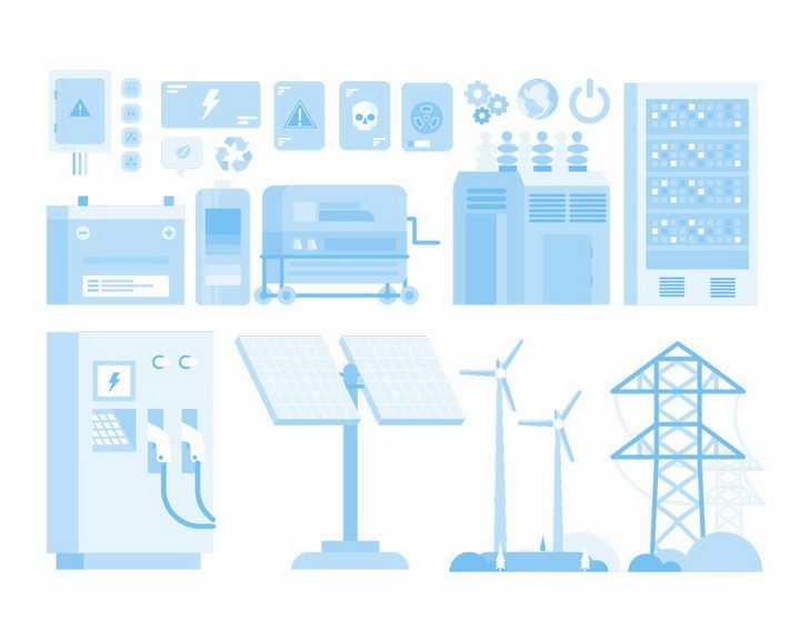淡蓝色的太阳能发电风力发电电塔铁塔等电力设备png图片免抠矢量素材