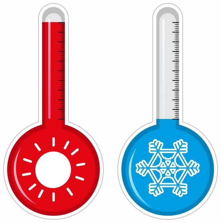 象征了高温和低温的两个温度计png图片免抠矢量素材