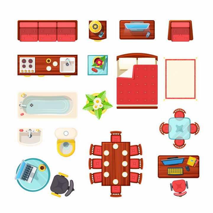 俯视视角红色沙发床电视柜餐桌浴缸洗手池电脑桌等家具平面图png图片免抠矢量素材