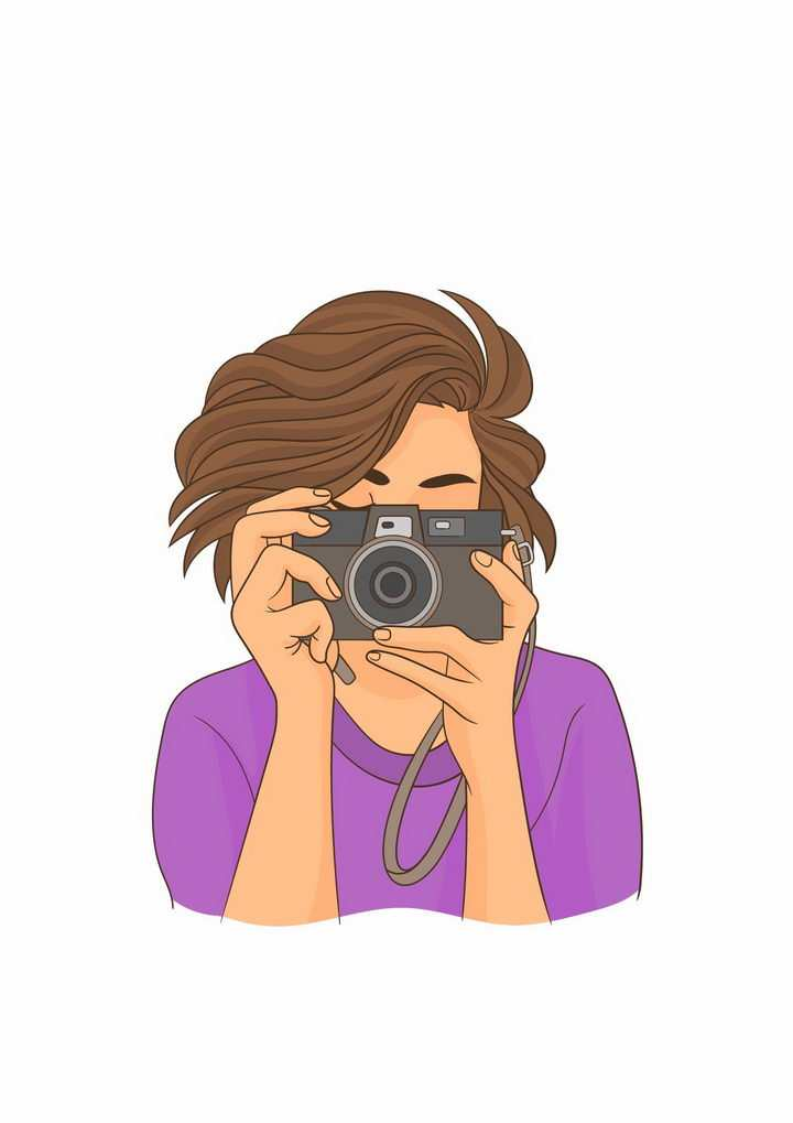 手绘风格拿着照相机对着你为你拍照的女人png图片免抠矢量素材