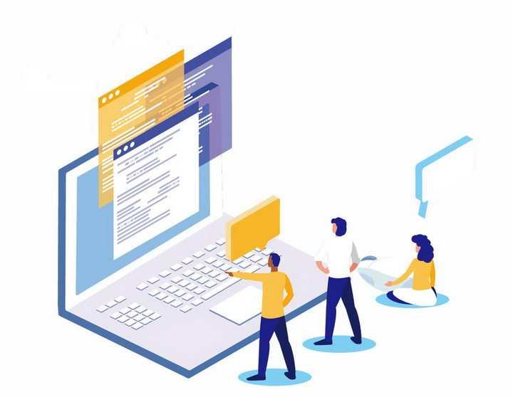 2.5D风格在电脑面前浏览网页查阅资料的年轻人png图片免抠矢量素材