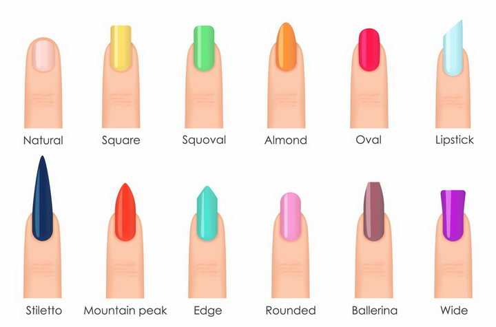 12种不同颜色和形状的指甲网红美甲png图片免抠矢量素材