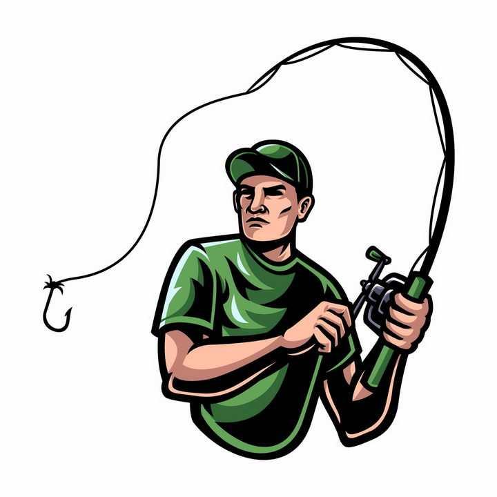 正在用鱼竿钓鱼的男人png图片免抠矢量素材
