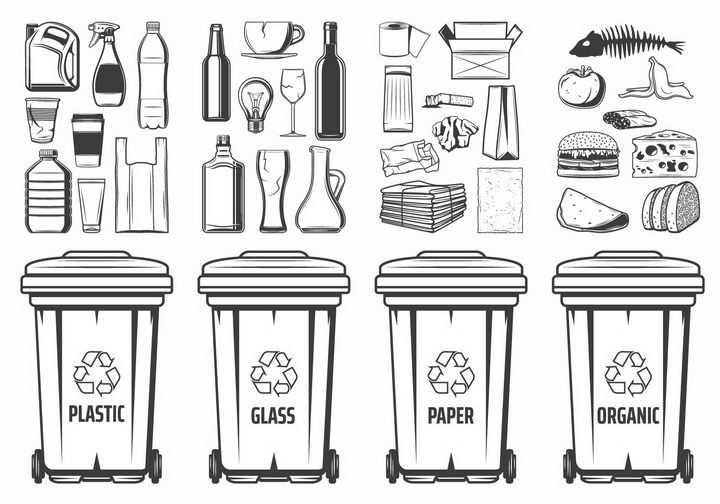 手绘垃圾分类垃圾桶png图片免抠矢量素材