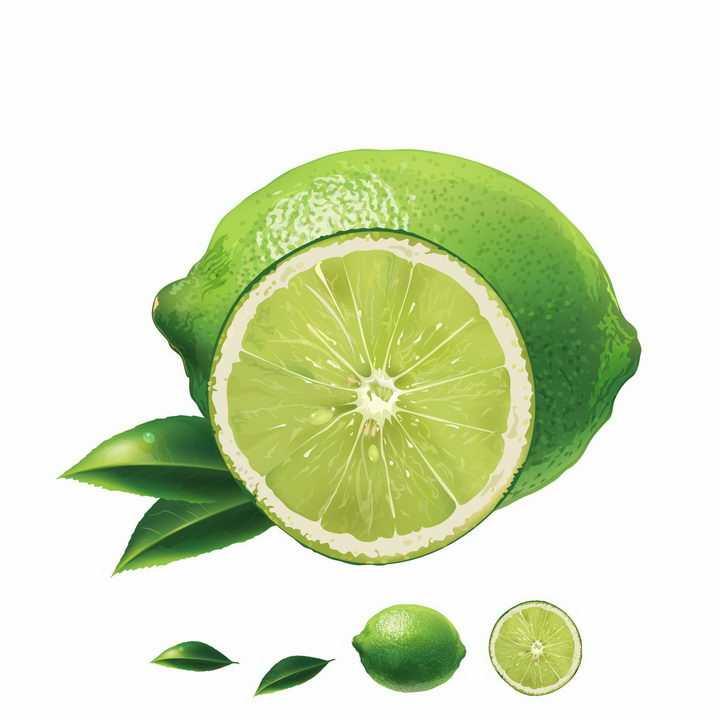 切开的青柠檬水果横切面美味水果png图片免抠矢量素材