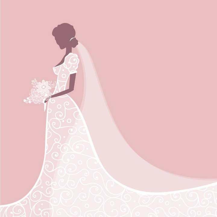 白色半透明结婚婚纱礼服图案png图片免抠矢量素材