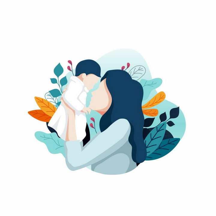 扁平插画风格抱着儿子的年轻妈妈母亲节亲子png图片免抠eps矢量素材